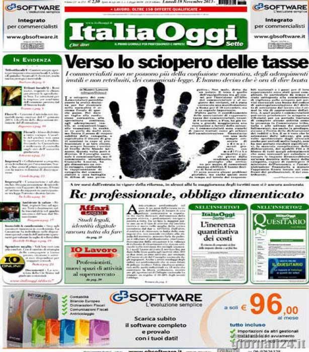 sciopero tasse italia oggi