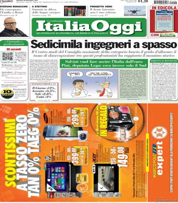 italia oggi Salvini vuole far uscire l'Italia dall'euro
