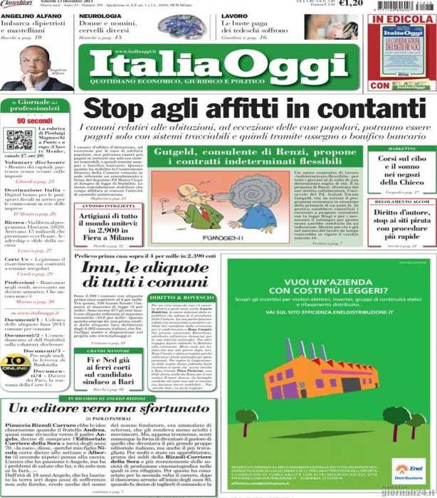 italiaoggi Stop agli affitti in contanti