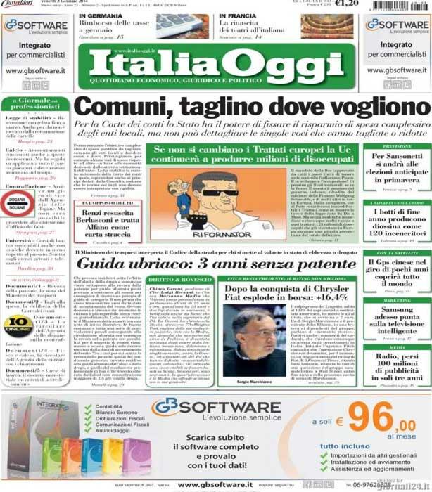 ITALIA OGGI - RASSEGNA STAMPA DEL 3 GENNAIO 2014