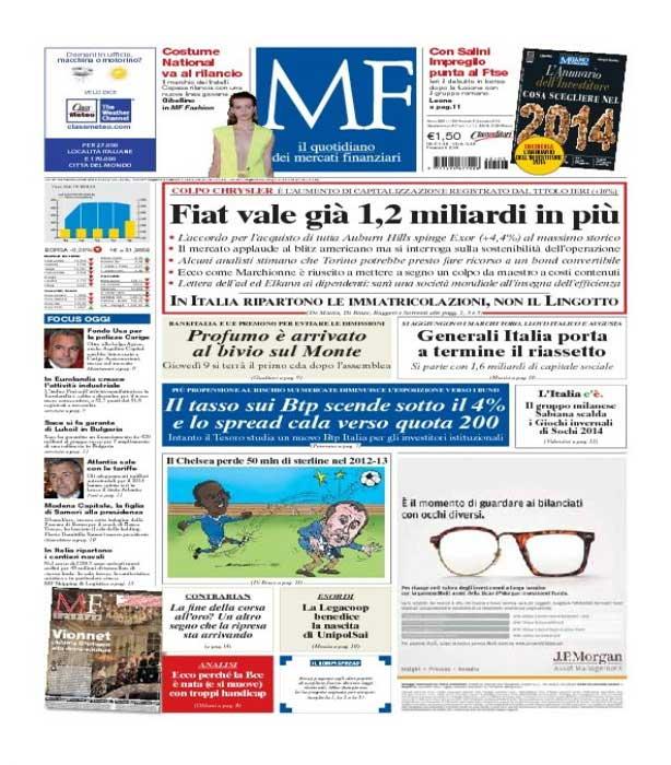 MILANO FINANZA - RASSEGNA STAMPA DEL 3 GENNAIO 2014
